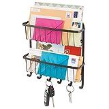 mDesign Portalettere e Appendichiavi – Il modo più pratico per organizzare prospetti, posta e riviste – Con cestini portaoggetti – Colore: bronzo