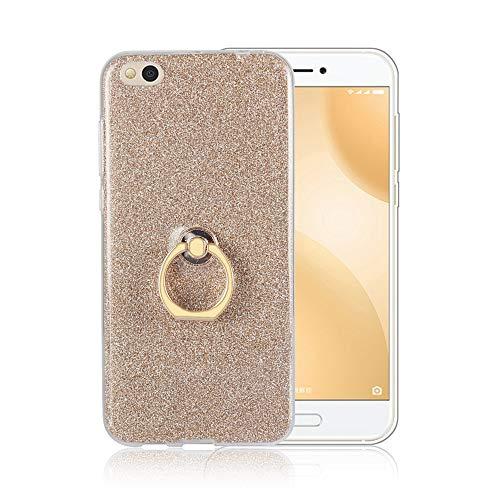 JARNING Case Weiche TPU Abdeckung + Glitzer Papier 2in1 Hybrid Hülle mit Kickstand Finger Griff Halter Hülle für Xiaomi Mi 5C (Gold)