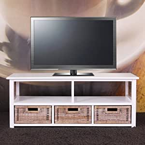 meuble tv table basse alabama bois massif osier 3 tiroirs blanc cuisine maison. Black Bedroom Furniture Sets. Home Design Ideas