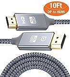 HDMI auf DisplayPort Kabel 4K 3m,DP zu HDMI Kabel Nylon Geflochtener,Snowkids Display Port Stecker zu HDMI Stecker UHD 4K verbindungskabel für HDTV,Monitor,Laptop,PC,Beamer,Grafikkarten-Grau