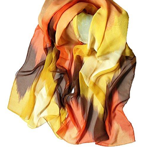 Bufandas para Mujer,Xinan Estilo Tinta China Chal de Gasa Bufandas Grande Moda (Naranja)