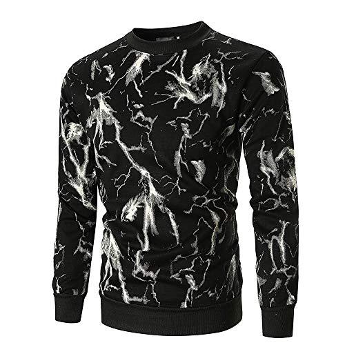 Preisvergleich Produktbild JUSTSELL Langarmshirts Pullover Herren Herbst Winter, Männer Blitzmuster-Druck Sweatshirt Rundhalsausschnitt T Shirt Casual Pullover Stilvoll Tops