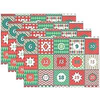 Mnsruu Calendario de Adviento de Navidad, Juego de 6, manteles de Mesa de Comedor