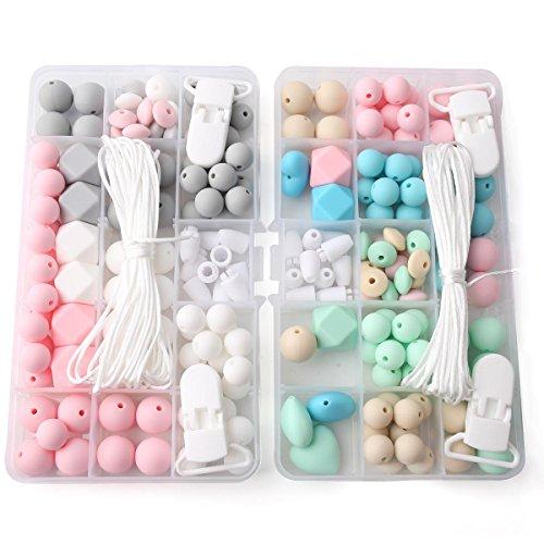 baby tete 2Pcs Perles en silicone Pendentif à la sucette Ensemble de perles de dentition pour bébés Bricoler à la main Montres à bijoux à la mode Pendentifs à cheveux