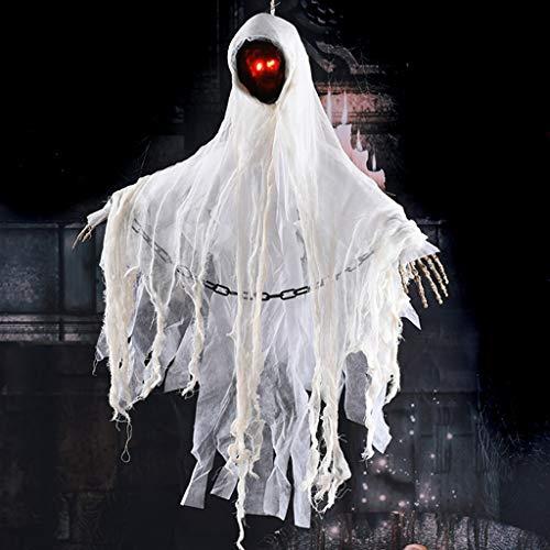 JIBO Control De Voz Blanco Sin Cara Masculina Fantasma Colgando Accesorios De Halloween Horror Embrujada Decoración De La Casa Juguete Eléctrico Sin Decoraciones Faciales