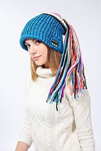 Bluetooth Beanie Maglia Cappelli con Le Cuffie, 2018 Nuovo Design Freddo Cappello A Prova di Inverno Teschi E Ski Beanie per Le Donne,Blue