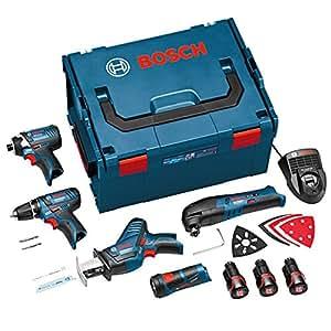 Bosch 0 615 990 DR3 Kit d'outils 10.8V GSR + GDR + GOP + GSA + GLI 10.8 V Li, avec coffret L-Boxx, 3 batteries, et accessoires