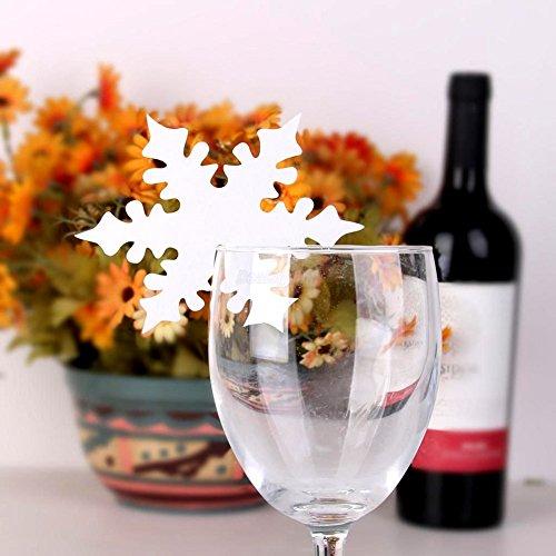 Soxid (TM) Schnee-Blatt-Form-Papier-Handwerk Schneeflocke Platz Namenskarten f¨¹r das Glas Wein Bier Weihnachten Winter-Hochzeit Tabelle Festival Dekorationen (Schneeflocke Gläser Wein)