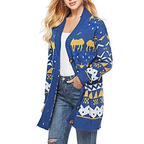 Beikoard Frauen Print V-Ausschnitt Langarm Knopf Pullover Strickjacke Loser Pullover Pullover Mantel
