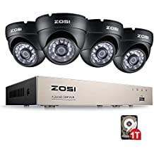 ZOSI 8CH AHD 720P DVR con 4pcs Cámaras en Domo Kit Sistema de Vigilancia Sistema de