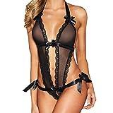 Reizwäsche Set Damen Ronamick Schwarz Spitze Verführerisch Flitterwochen Robe Dessous Stripper tragen erotische Nachtwäsche Bodysuit Pyjamas (M, Black)