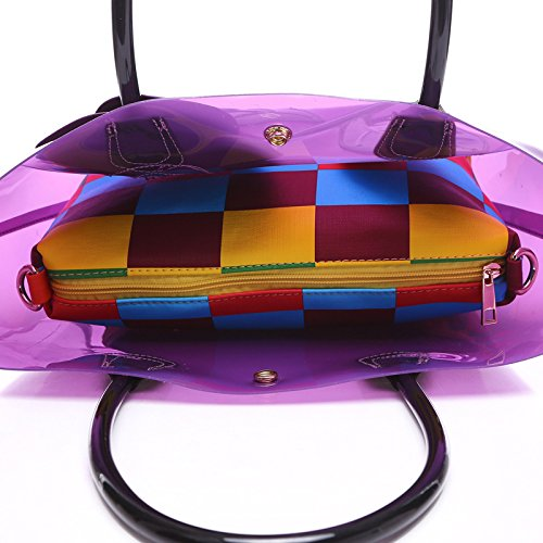 Flada, Borsa a mano donna viola Purple medium Black