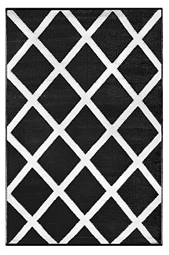 Green Decore - Alfombra de interior/exterior, plástico ligero, reversible, estampado diamante, color blanco y negro, 90x 150 cm