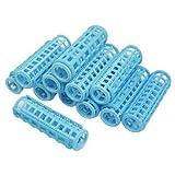 sourcingmap® 12 Pcs Women DIY Hair Curling Tool Blue Plastic Curler Roller