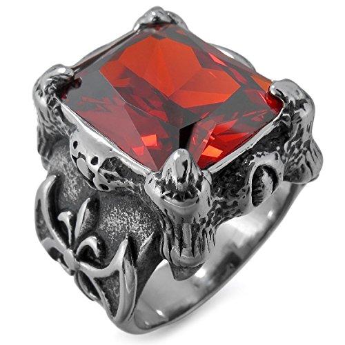 MunkiMix Groß Edelstahl Ring CZ Zirkon Zirkonia Silber Ton Schwarz Rot Drachen Klaue Ritter Fleur De Lis Größe 60 (19.1) Herren (Cz Hochzeit Ringe Größe 5 1 2)