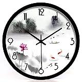 ZTZT Salon Chambre Simple Horloge Quartz Horloge à Encre Rappel Jiangnan Paysage Paysage muet Horloge Murale 14 Pouces