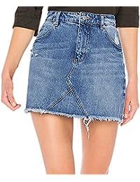 Sunenjoy Jupe Jeans Femme Denim Jupe Filles Slim Dechiré Mini Jupe Taille  Haute Été Jupe Court 903410960e35