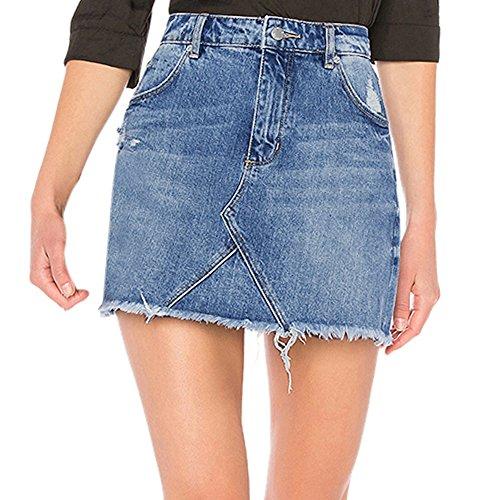 Kosmetikerinnen Jacke (CICIYONER Damen Röcke Frauen Blaue Denim Jeans Feste beiläufige Loch Sommer Knopf kurzer Minirock)