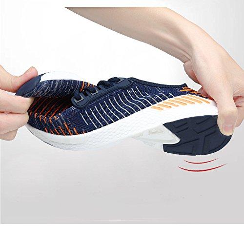 BAINASIQI Herren Damen Turnschuhe Atmungsaktive Freizeit Sportschuhe Mesh Sneakers Laufschuhe Tennisschuhe Blau-Orange
