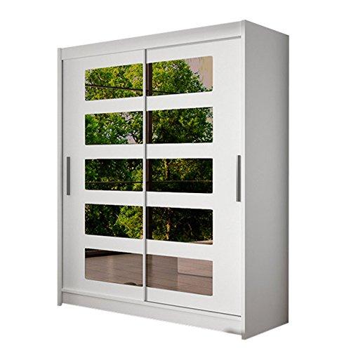 Schwebetürenschrank Westa V Kleiderschrank mit getönter Spiegel, Modernes Schlafzimmerschrank, Schiebetürenschrank, Garderobe, Schlafzimmer (Weiß)