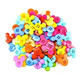 #3: Unobite 4-Holes Mickey Design Plastic Buttons for Sewing and DIY Craft Pack of 100 Piece