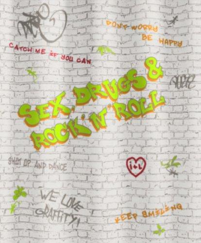Kleine Wolke 5172148305 Duschvorhang Grafitti, 180 x 200 cm, multicolor