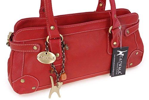 Lederhandtasche Carnaby von Catwalk Collection - GRÖßE: B: 33 H: 13 T: 9 cm Rot