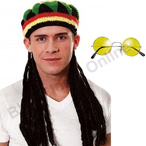 Jamaican Rasta Hut mit angeschlossenem Dreadlocks + Runde getönte Gläser