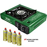 ASAB Portable Camping Gas Cooker Single Burner Stove Automatic Ignition System Enamel Pan Holder Butane BBQ Carry Bag Caravan Outdoor - Green Stove + 4 Canisters