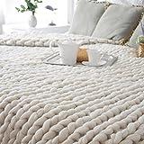 Hlhn mano lavorato a maglia grossa, coperta morbida Fluffy spessa mano ingombranti filati coperta di lana, Beige, 100x80cm