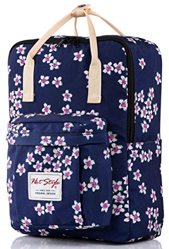 HotStyle Magnolie Damen Rucksack Schulrucksack mit Laptopfach (37x26x13cm), Dunkelblau - Cute Canvas Taschen