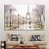 tzxdbh Romantische Liebhaber Stadt Paris Eiffelturm Landschaft HD Drucken Abstraktes Ölgemälde auf...