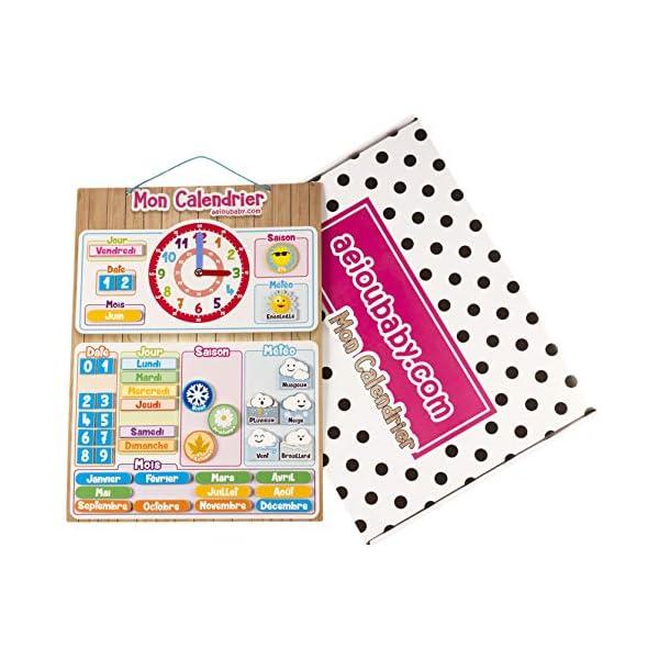CALENDARIO OROLOGIO magnetico per bambini, Gioco educativo Data Tempo e Ora per Parete o Frigorifero, 43x32cm. Scatola…