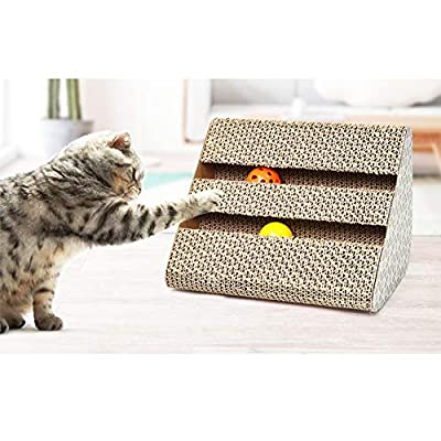 Xiton 1PC Cat Scratch Board With Catnip Recyclable Triangle Cat Scratcher Cat Toy Scratch Pad Fun Pet Cat Scratching Post Cardboard With Bell-Ball Scratch-Resistant Bed Sofa For Cat from Xiton