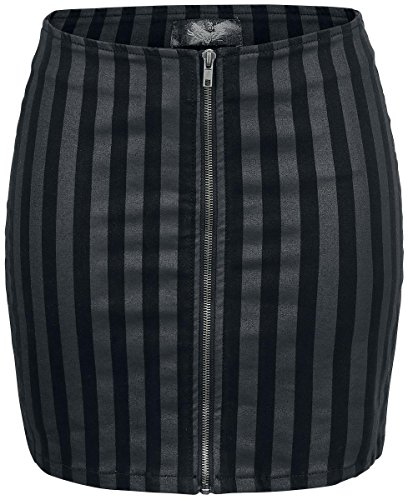 Rock Rebel by EMP Striped Zip Skirt Gonna nero M