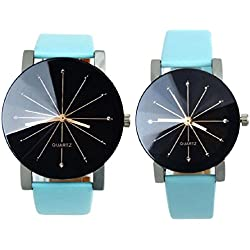 FEITONG 1Pair Men and Women Quartz Dial Clock Leather Wrist Watch Round Case BU
