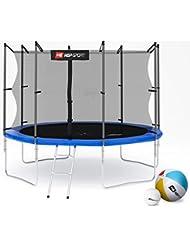 Hop-Sport Gartentrampolin 244, 305, 366, 430, 490 cm Komplettset inkl. Innennetz Leiter Wetterplane Bodenhaken Blau