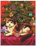dpr. Fensterbild Katze unter dem Weihnachtsbaum statisch haftend Weihnachten Advent Fenstersticker Fensterdekoration Fensterfolie