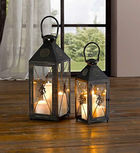 """Dekoleidenschaft Laterne """"Iris"""" klein aus Metall, Kerzenhalter, Kerzenständer"""