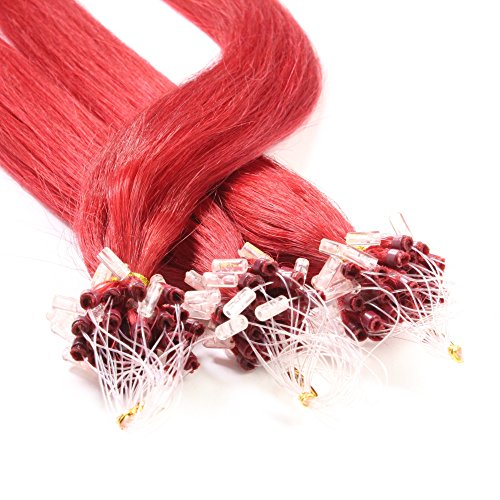 Just Beautiful Hair and Cosmetics Lot de 100 extensions Remy Loop avec micro anneaux Rouge 50 cm