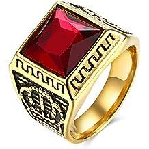 lureme® Classico Gioielli Uomo Corona Acciaio inossidabile Anello with Rosso Pietra Piazza Anello(rg001763-r)