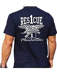 Camiseta de Rescue 1–Con Eagle de escudo–Manhattan–Bomberos de Nueva York, todo el año, color azul, tamaño large