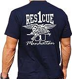 T-Shirt Rescue 1 - mit Eagle-Wappen - Manhattan - New Yorker Feuerwehr