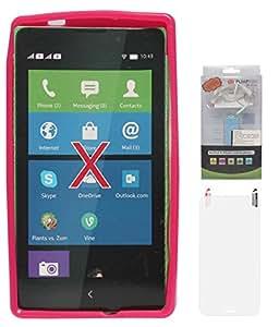 DMG Flexible Soft Glossy TPU Back Cover Case for Nokia X (Pink) + 2200 mAh PowerBank + Matte Screen
