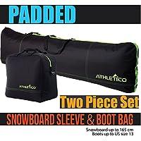 Athletico - Juego de 2 Bolsas Acolchadas para Snowboard y Botas, Incluye 1 Bolsa Acolchada para Tabla de Snowboard y 1 Bolsa Acolchada para Botas de hasta 165 cm