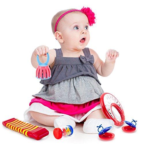 Tulatoo-Set-Instrumentos-Musicales-para-Beb-Set-de-Percusin-Divertido-Juguete-Musical-para-Bebs-y-Nios-incluye-2-Castauelas-Pandereta-Oruga-Campanilla-Palo-de-Lluvia-Mini