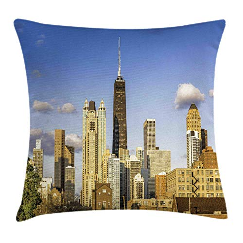 MLNHY Illinois Throw Pillow Cushion Cover, Downtown Chicago Architecture View in Cloudy Sky Metropolitan Town Country, Decorative Square Accent Pillow Case, Violet Blue Cream,22 X 22 Inches Illinois Home Jersey