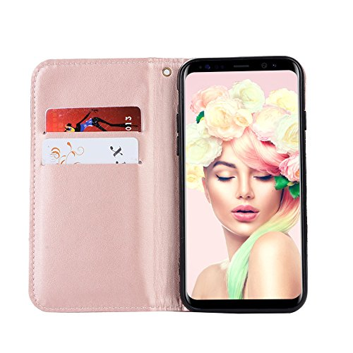 Custodia per iPhone 8 Plus / 7 Plus DIY Brillantini Portafoglio - Girlyard 3D Bling Glitter Crystal Strass Diamante Cover in Pelle Colorata Fiore Farfalla Disegno Libro Antiurto Supporto Wallet Chiusu I Love You Love Catena