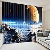 Eqwr Weltraum Galaxy Luxus Blackout 3D Vorhänge Für Wohnzimmer Bettwäsche Zimmer Büro Vorhänge H240 * W340 cm