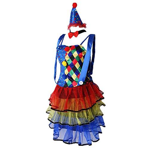 Blesiya Zirkus Clown Kostüm Damen mit Clown Mütze